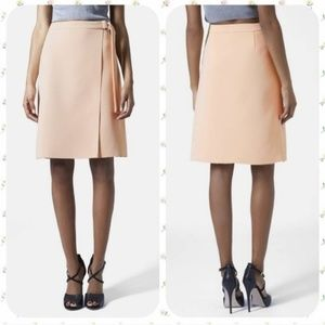 Topshop D-Ring Wrap Skirt in Nude